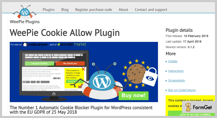 WeePie Cookie Allow WordPress GDPR Plugin