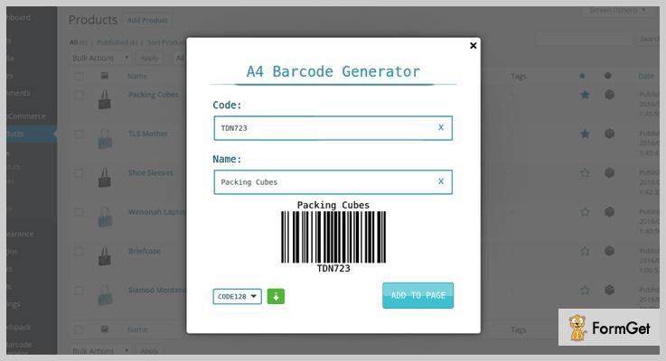 A4 Barcode Code Generator WordPress Plugins