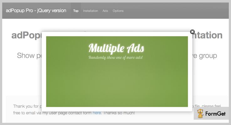 adPopup Pro jQuery Popup Plugin