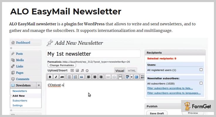 ALO EasyMail Newsletter Mailing List WordPress Plugin