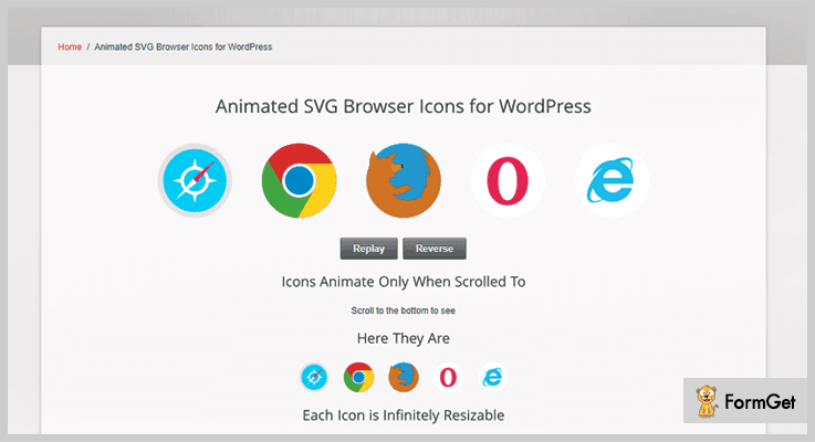 Animated SVG Browser Icons Icons WordPress Plugin