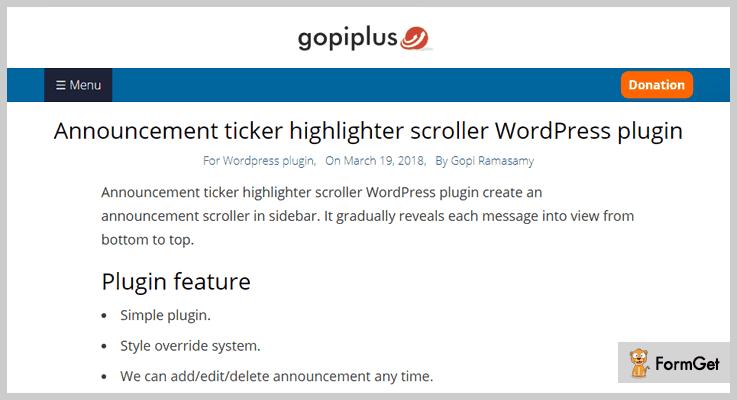 Announcement Ticker Highlighter Scroller Announcement WordPress Plugin