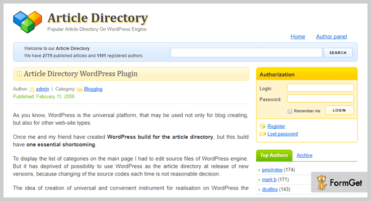 Articlesss Article Directory WordPress Plugins