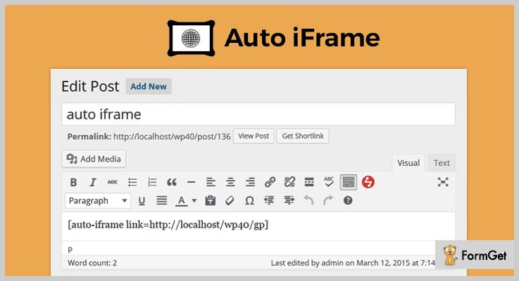 Auto iframe WordPress iframe Plugin
