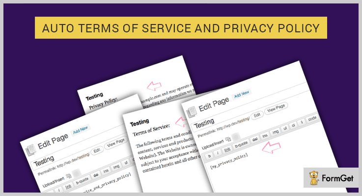 Auto Terms of Service and Privacy Policy WordPress Plugin