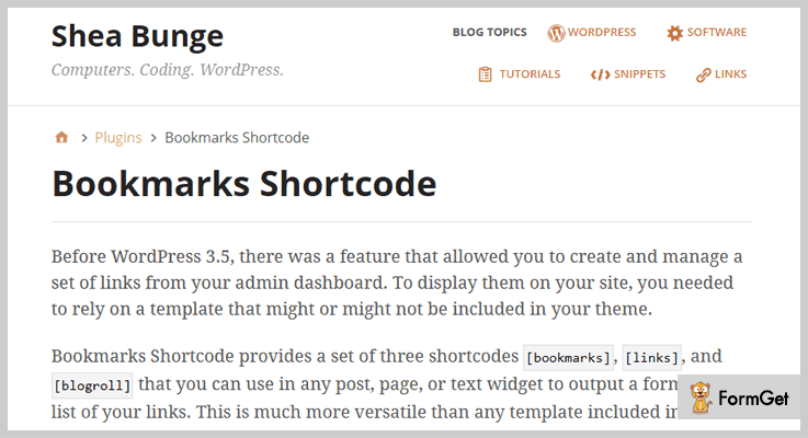 Bookmarks Shortcode WordPress Bookmark Plugin