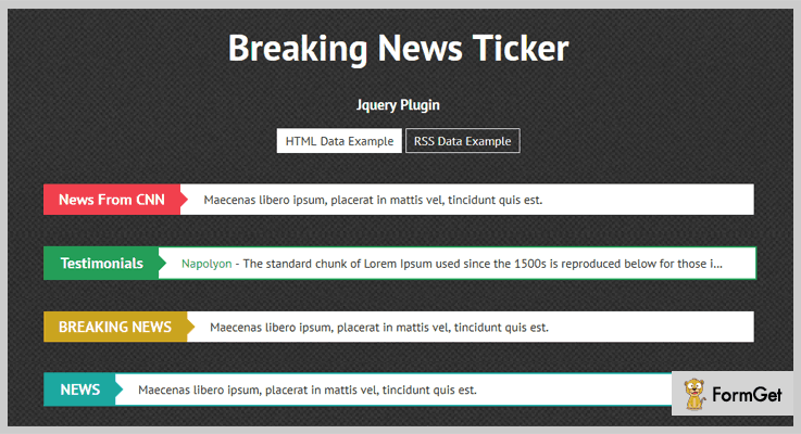 Breaking News Ticker jQuery RSS Feed Plugins