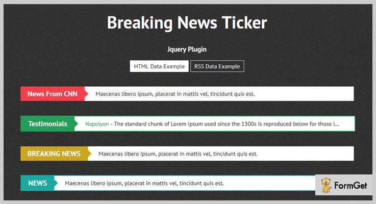 Breaking News Ticker News Ticker jQuery Plugin