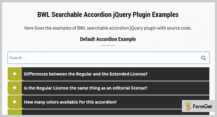 BWL Searchable Accordian jQuery Search Plugin
