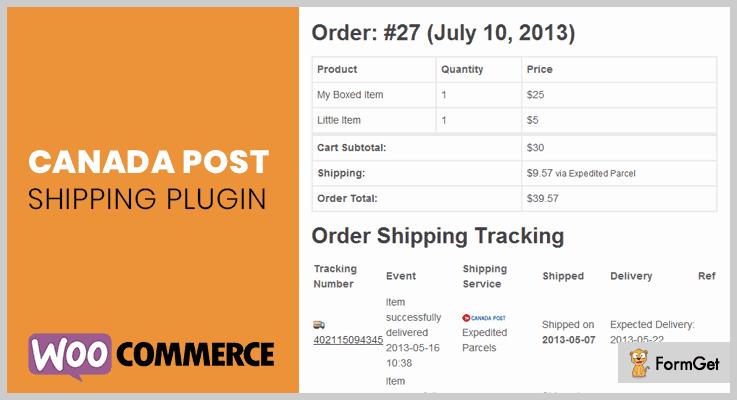 Canada Post WooCommerce Shipping Plugin Order Tracking WordPress Plugin