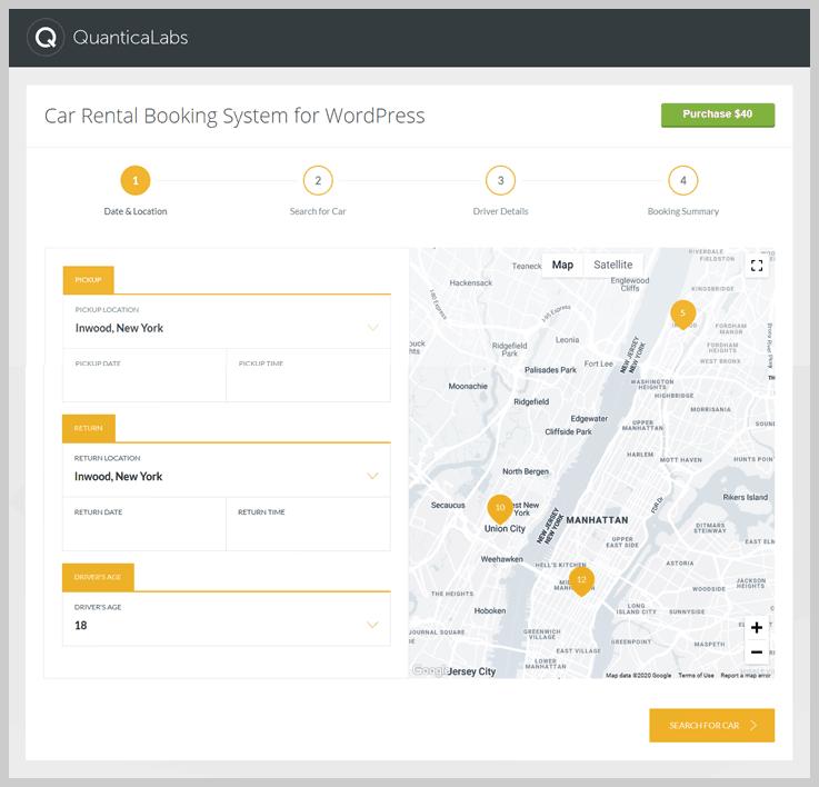 Car Rental Booking System for WordPress - Car rental WordPress plugin