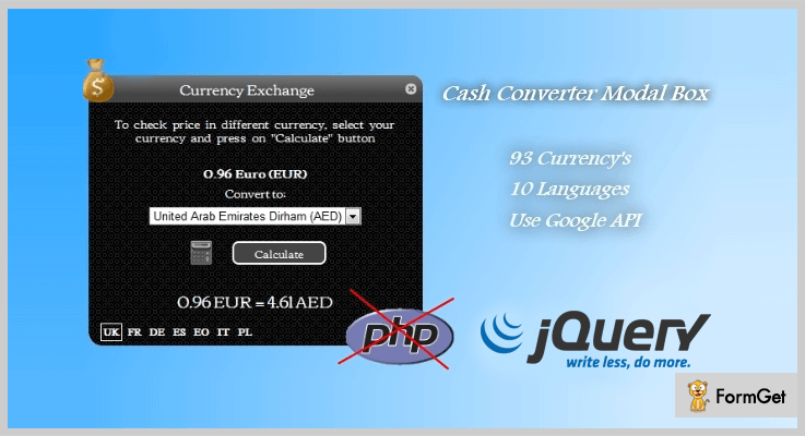 Cash Converter Currency Converter jQuery Plugins