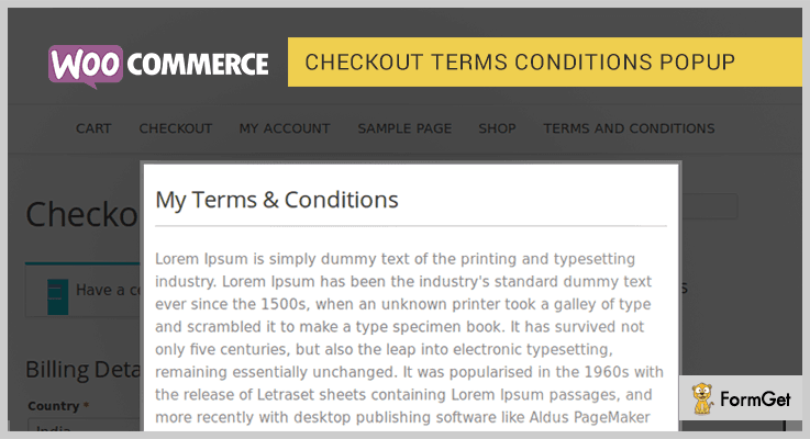 WooCommerce Checkout Terms Conditions Popup WordPress Plugin