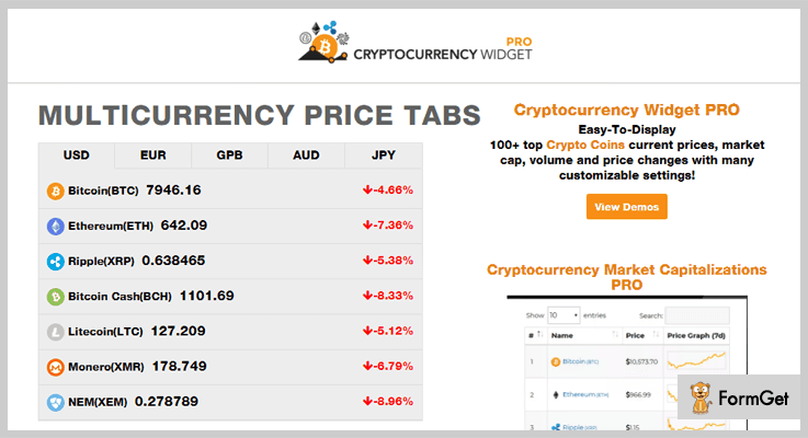 Cryptocurrency Price Ticker Widget Cryptocurrency WordPress plugin