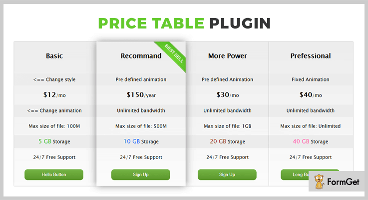 CSS3 Price Table jQuery Table Plugin
