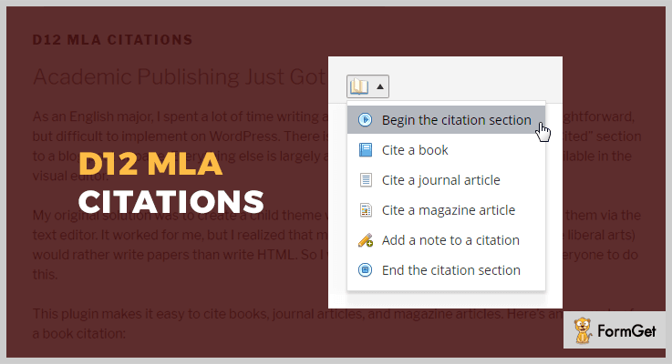 d12 MLA Citations WordPress Citation Plugin