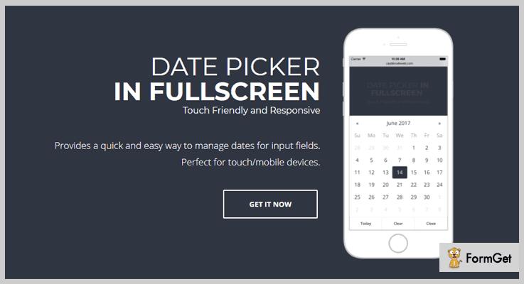 Date Picker In Fullscreen jQuery Datepicker Plugin