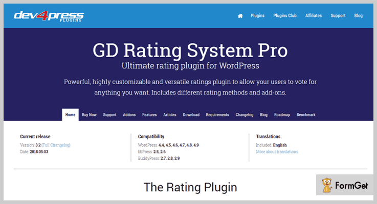 GD Rating System Pro Thumbs Up WordPress Plugins