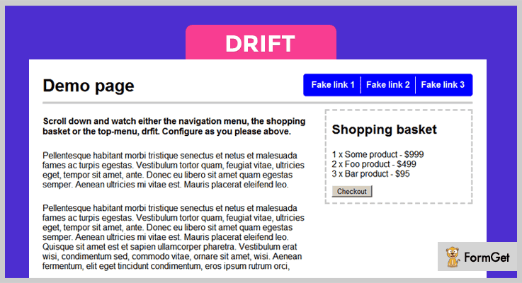 Drift Shopping Cart jQuery Plugin