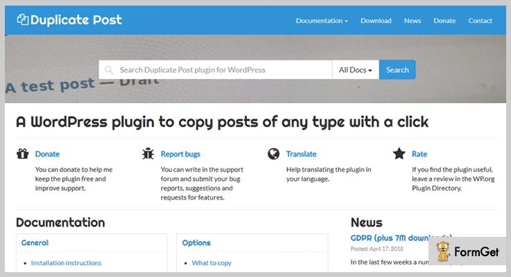Duplicate PostWordPress Duplicate Plugin