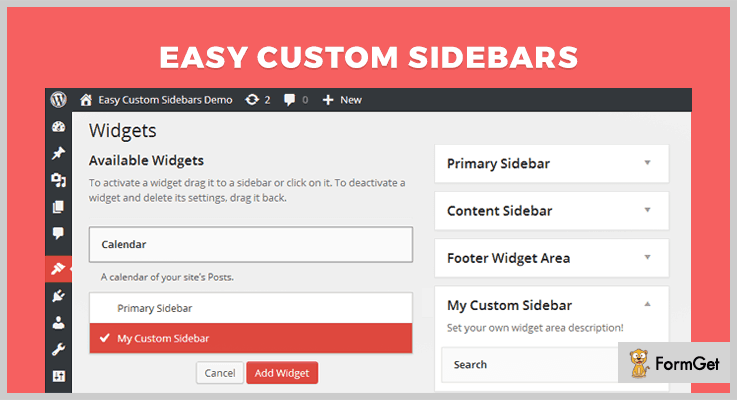 Easy Custom Sidebars Widget WordPress Plugin