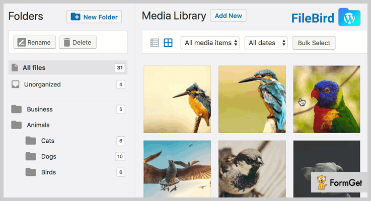 File BirdWordPress Media Library Plugin
