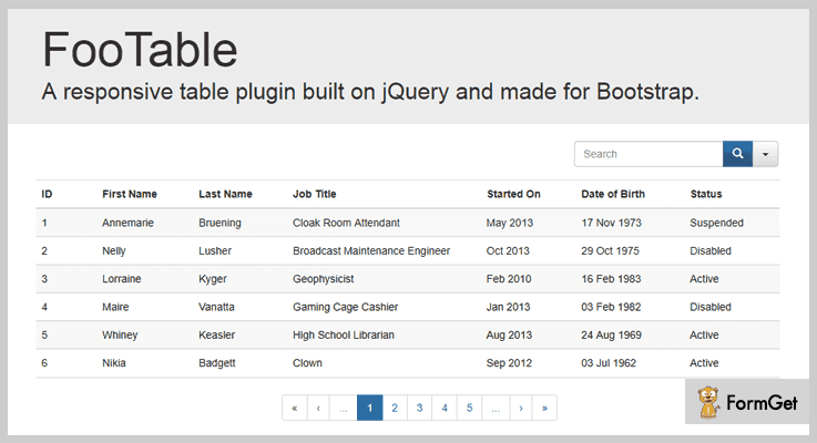 FooTable jQuery Table Plugin