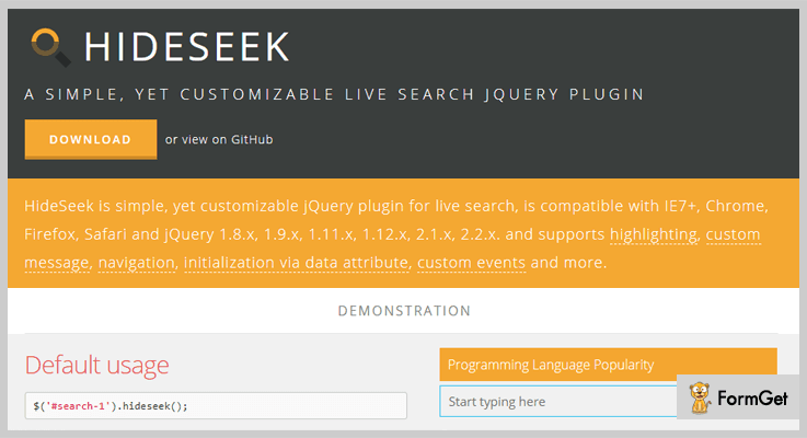 HideSeek jQuery Search Plugin