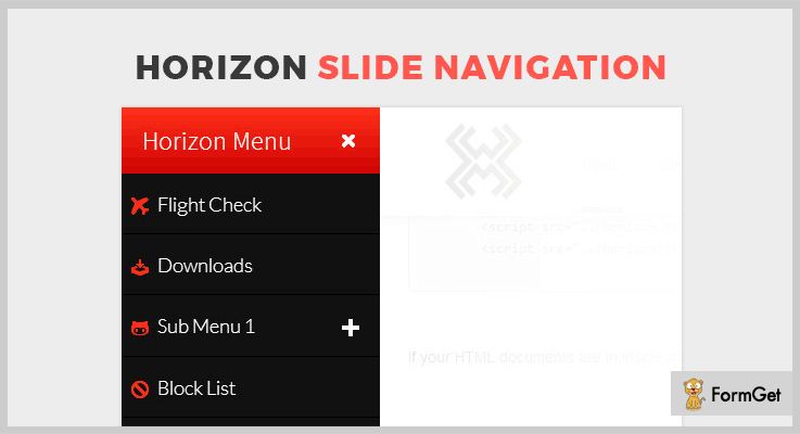 Horizon Slide jQuery Navigation Plugin
