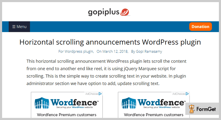 Horizontal Scrolling Announcement Notice Board WordPress Plugin