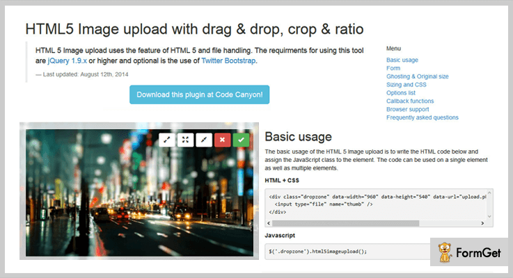 HTML 5 Upload Image jQuery Drag And Drop Plugin