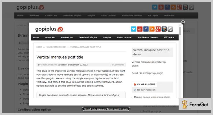 iframe popup WordPress iframe Plugin