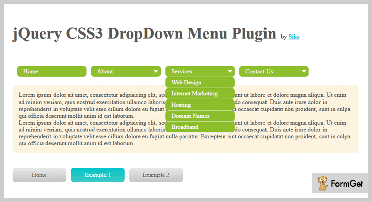 jQuery CSS3 Dropdown Plugins