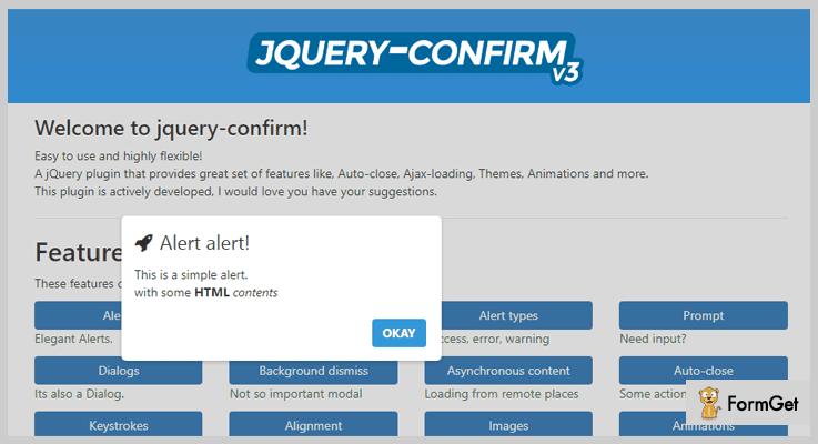 jQuery Confirm jQuery Alert Plugin