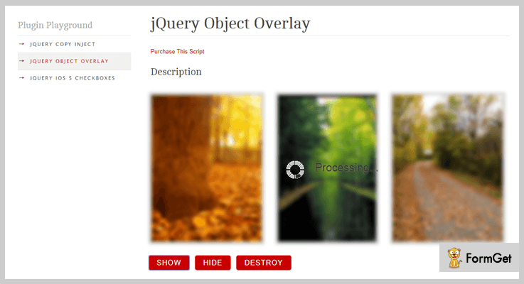 jQuery Object Overlay jQuery Overlay Plugins