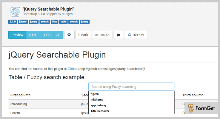 Jquery Searchable jQuery Search Filter Plugins