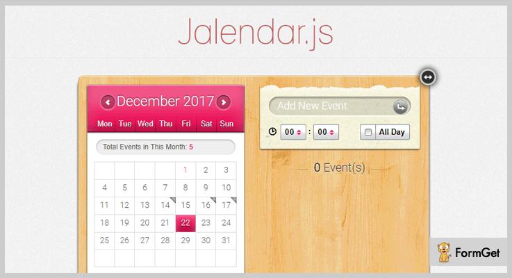 Jalendar jQuery Calendar Plugin