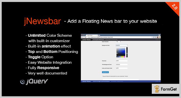 JNewsbar News Ticker jQuery Plugin