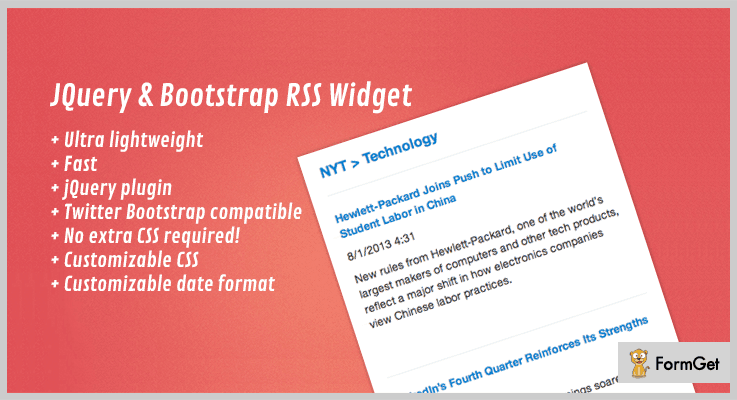 jQuery & Bootstrap RSS Widget jQuery RSS Feed Plugins