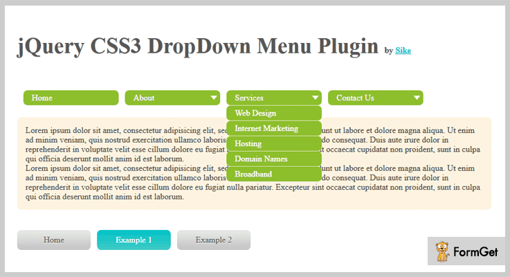 CSS3 DropDown Menu jQuery Menu Plugins