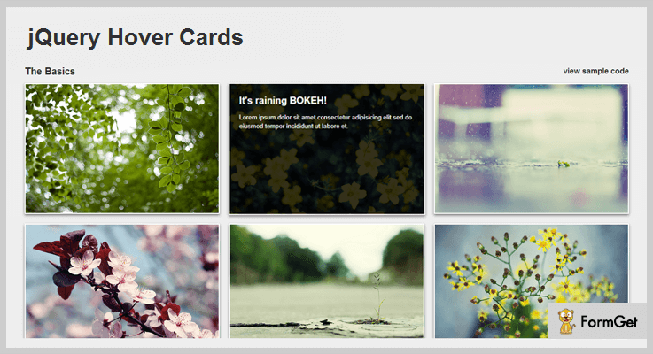 jQuery Hover Cards jQuery Image Hover Effect Plugin