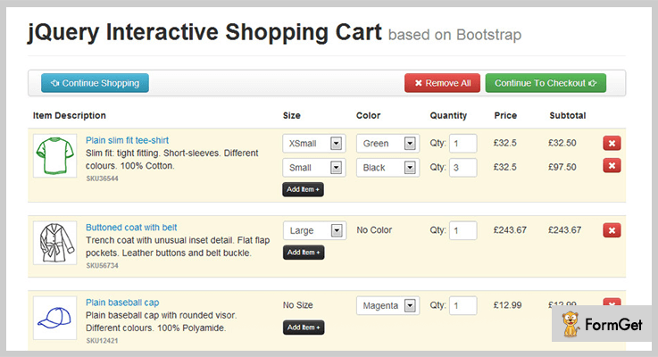 jQuery Interactive Shopping Cart jQuery Plugin