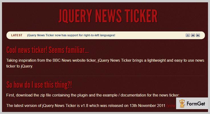 jQuery News Ticker News Ticker jQuery Plugin