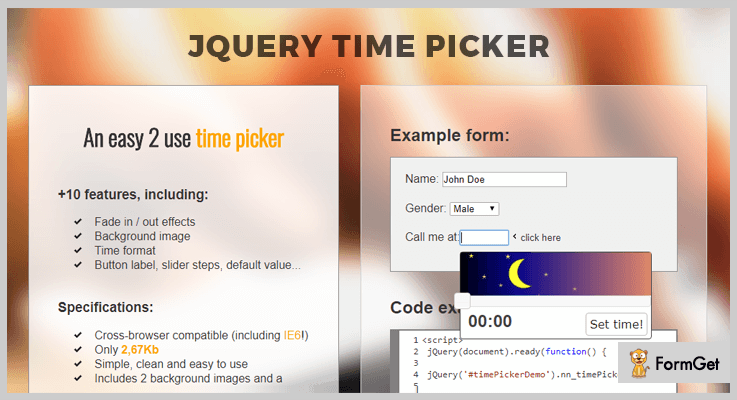 jQuery Timepicker Plugin