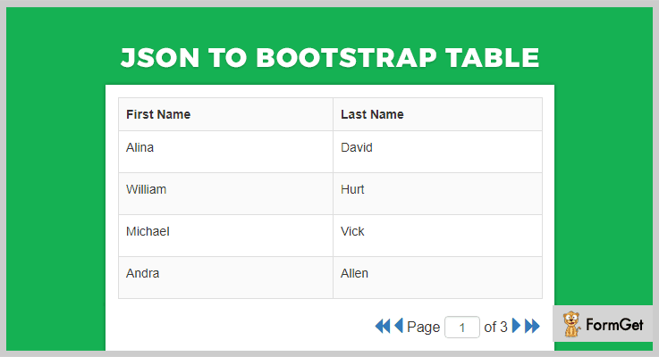 JSON To Bootstrap Table jQuery Pagination Plugin