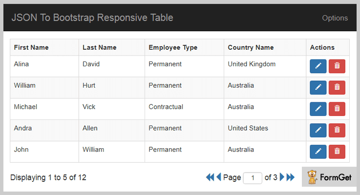 JSON To Bootstrap Table jQuery Table Plugin