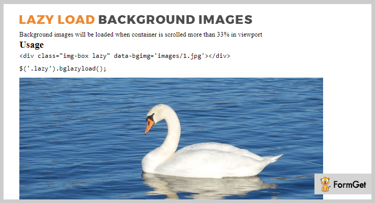 Lazy Load Background Images jQuery Lazy Load Plugin