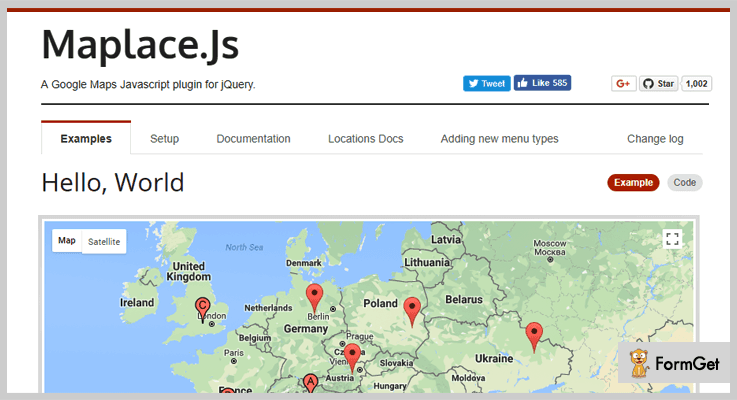 Maplace.js jQuery Google Map Plugin