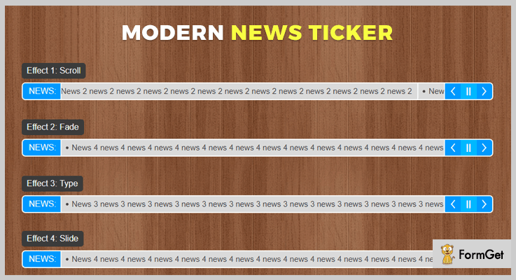 Modern News Ticker jQuery RSS Feed Plugins