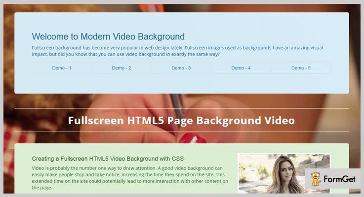 Modern Video and Slider Background jQuery Plugin